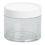2 OZ. CLEAR PET PLASTIC JAR W/ WHITE LID