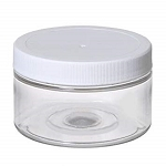 4 OZ. CLEAR PET PLASTIC JAR W/ WHITE LID