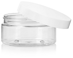 8 OZ. CLEAR PET PLASTIC JAR W/ WHITE LID