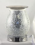 White Silver Mosaic Crackle Glass Touch Fragrance Lamp