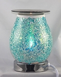 Teal White Mosaic Crackle Glass Touch Fragrance Lamp